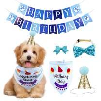 GAGILAND Dog Birthday Bandana Hat Banner Set Dog Boy Girl Cute Bow Tie Scarf Birthday Party Supplies Decorations(Blue, Dog Boy)