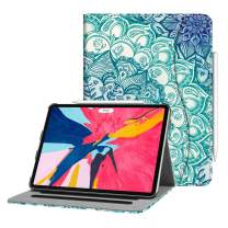 """Fintie Case for iPad Pro 11"""" 2018 [Supports 2nd Gen Pencil Charging Mode] - Multi Angle Viewing Folio Cover with Pocket [Secure Pencil Holder] Auto Sleep/Wake for iPad Pro 11 2018, Emerald Illusions"""