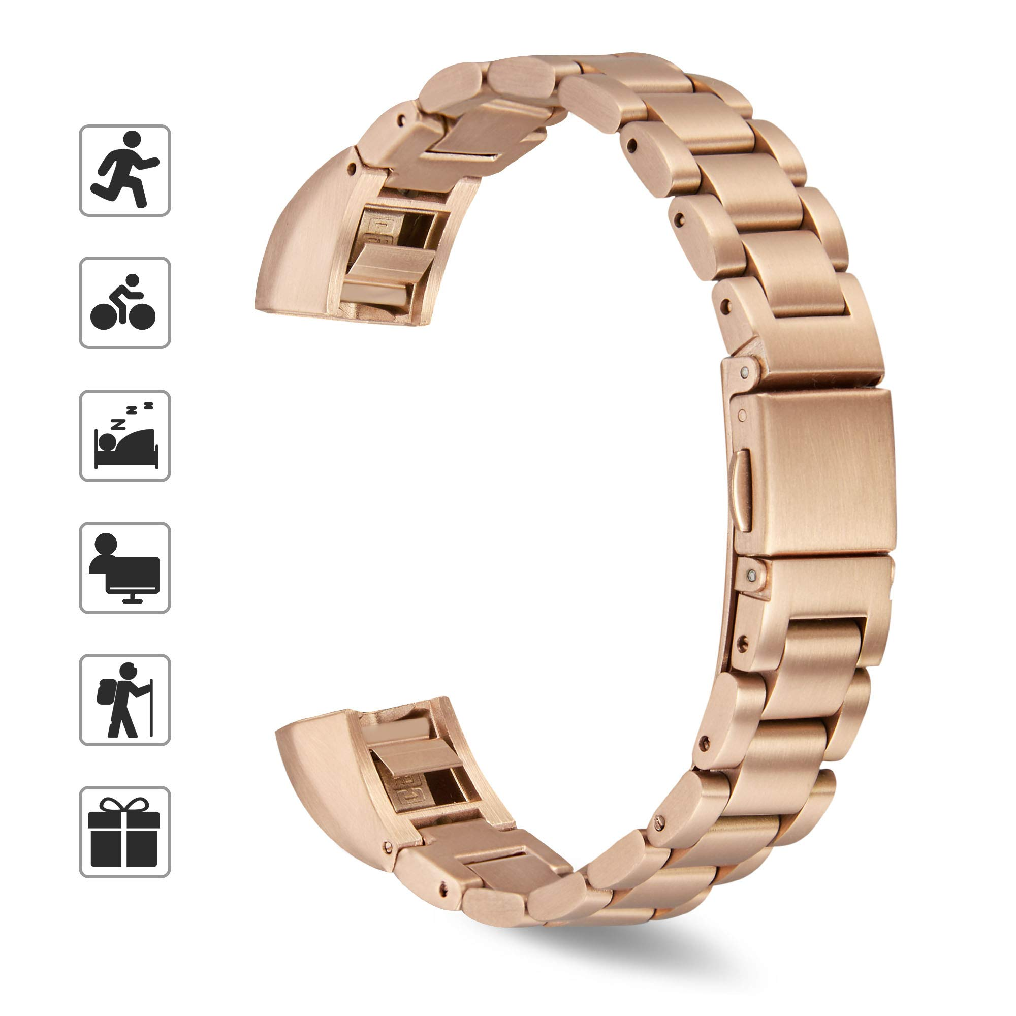 TOMALL Metal Bands Compatible for Alta and Alta HR,Stainless Steel Metal Replacement Wristband for Women Men (Rose Gold)