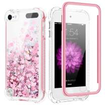 Caka iPod Touch 5 6 7 Case, iPod Touch 7th Generation Glitter Case Built in Screen Protector Bling Liquid Sparkle Fashion Girly Girls Women Flowing Bumper Cushion Case for iPod Touch 5 6 7 (Rose Gold)