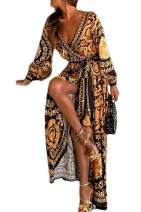 Women Cocktail Dresses Bohemian Long Sleeve Floral Fall Party Maxi Dress