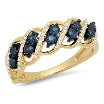 Dazzlingrock Collection 10K Gold Round White Diamond and Blue Sapphire Ladies Cocktail Right Hand Ring