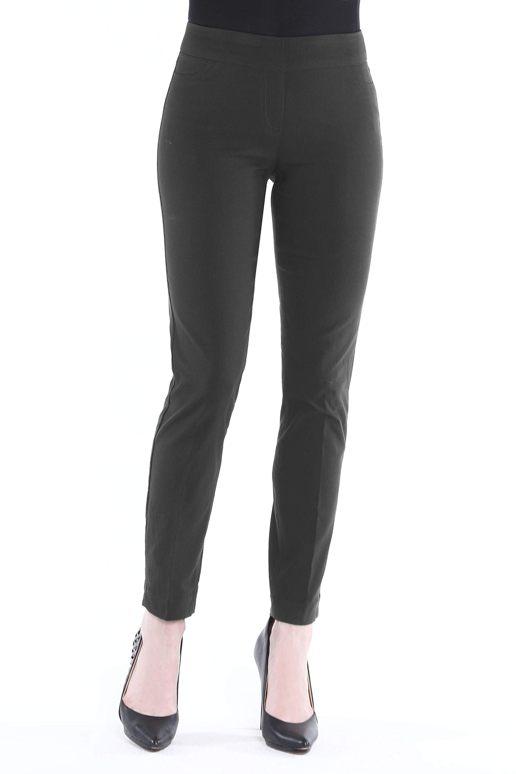 Vincenté Womens Clothing- Stretch Pants for Women - Womens Pull On Ankle Pants with Stretch Band Waist and Tummy Control, Color Charcoal Size 10