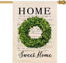 Molili Small Welcome Boxwood Wreath Garden House Flag Burlap Vertical Double Sided,Farmhouse Retro Vintage Summer Spring Home Sweet Home Yard Outdoor Decoration,Seasonal Outdoor Flag 28 x 40inch