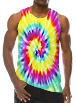 RAISEVERN Tie Die Painting Colorful 3D Print Casual Realistic Underwaist Gym Mens Tank Tops for 90s,Tie Dye,Small