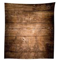 QCWN Wood Grain Tablecloth,Brown Wooden Retro Boho Style Tablecloth,Dining Room Kitchen Rectangular Table Cover.Brown55x78Inch