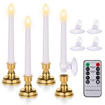7.9 Inch Flameless Taper Candles with Timers, Battery Operated LED Window Candles with Remote, Flickering Candles with Removable candlesticks and Suction Cups for Easter Day, Wedding, Party Decor