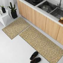 MAYSHINE Beige Natural Rubber Backing Kitchen Rugs Set Doormat Runner Comfort Mat - 17.5 X 27.5 Inches 17.5 x 55 Inches