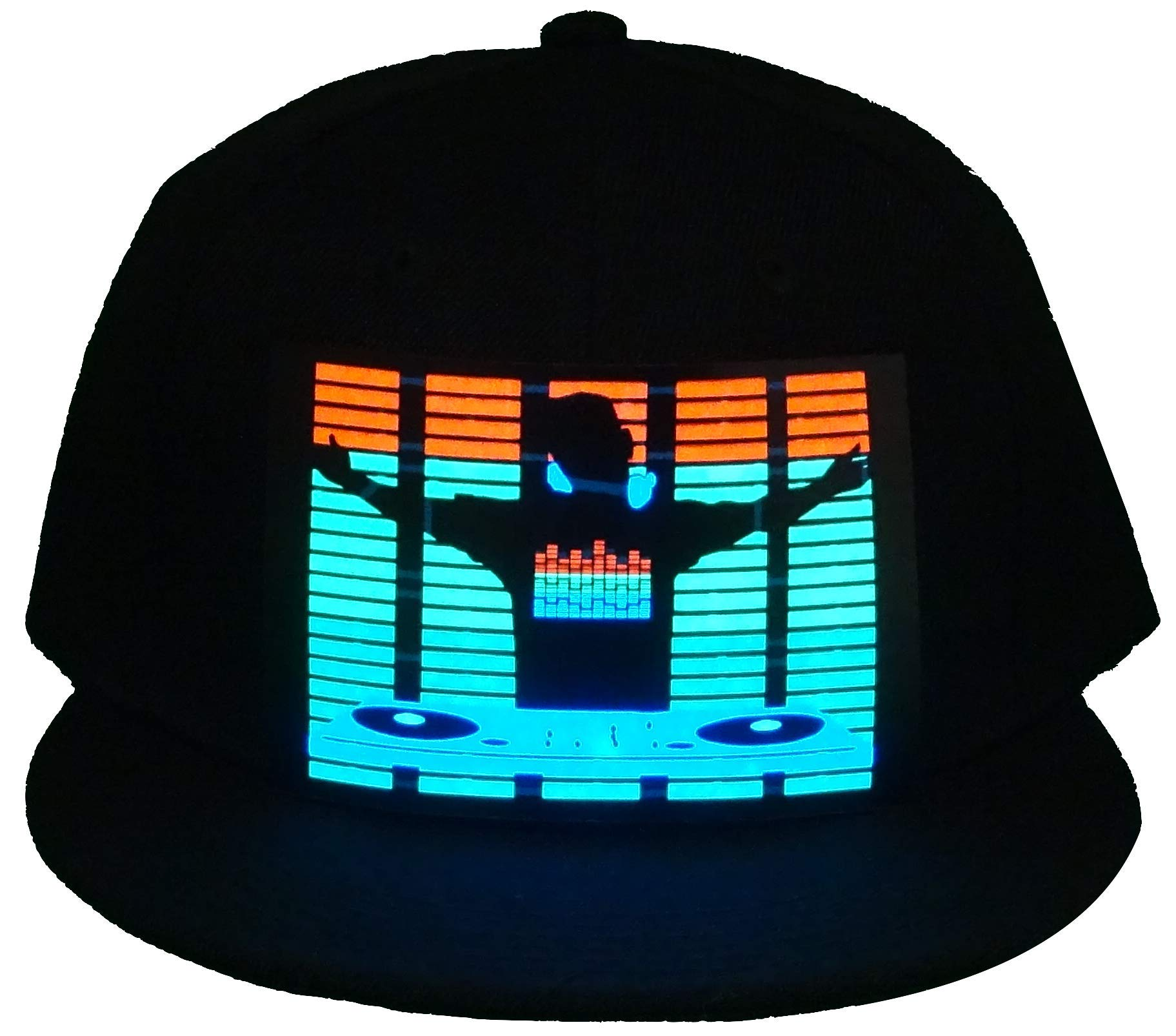 CYB LED Hat Rave Light Up Sound Activated Baseball Cap Flashing DJ Snapback for Men and Women