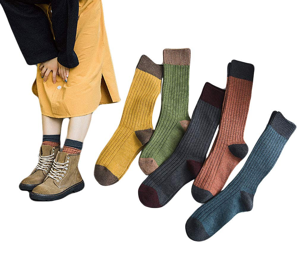 Santwo Colorful Stripe Warm Wool Blend Knited Hold-up Boot Crew Socks Leg Warmer 1-5 Pairs Size - US 6.5-10.5