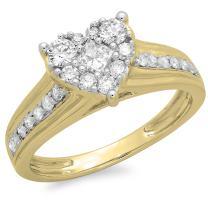 Dazzlingrock Collection 0.70 Carat (ctw) 14K Gold Princess & Round Diamond Bridal Heart Shaped Promise Engagement Ring 3/4 CT