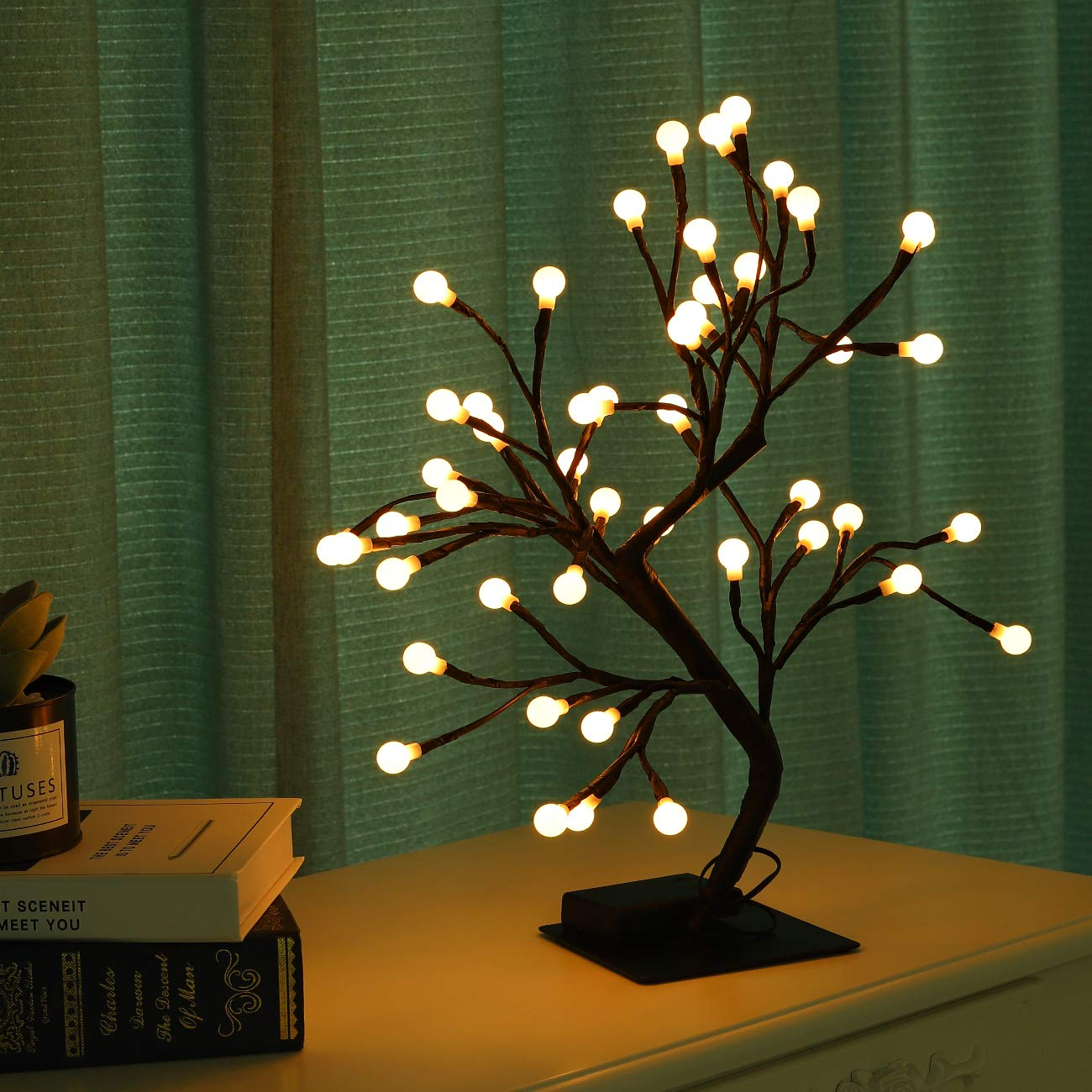 Lewondr Led Bonsai Tree Lights 18 Inch Ball Shaped Battery Powered 48 Led Bulbs Decorative Night Lights Desk Tablet Top Living Room Bedroom Home Christmas Decoration Warm Light