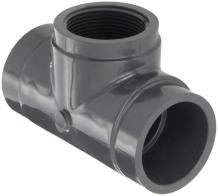"""GF Piping Systems PVC Pipe Fitting, Tee, Schedule 80, Gray, 1-1/2"""" NPT Female x Slip Socket"""