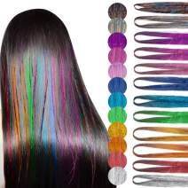 Hair Tinsel, Hair Tinsel Strands Kit, Tinsle Hair Extensions, 47 Inches 12 Colors Hair Tinsel Kit 1800 Strands Sparkling Shiny Fairy Hair Kit