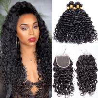 Maxine Malaysian Water Wave Wet And Wavy Virgin Human Hair Weave with Closure 4x4 Free Part Lace Closure with Baby Hair (20 20 22 with 18)
