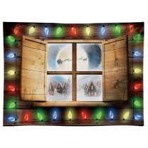 Funnytree 8x6ft Durable Fabric Christmas Window Photography Backdrop No Wrinkles Winter Xmas Santa Sleigh Rustic Wood Party Background Colorful Forest Snow Banner Decoration Portrait Photo Studio
