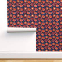 Spoonflower Peel and Stick Removable Wallpaper, Poppy Blue Red White Modern Home Floral Flower Botanical California and Print, Self-Adhesive Wallpaper 24in x 108in Roll