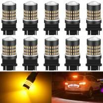 KATUR 3157 3047 3057 3155 3156 Led Light Bulb Super Bright 900 Lumens High Power 3014 78SMD Lens LED Bulbs for Brake Turn Signal Tail Backup Reverse Brake Light Lamp,Amber(Pack of 10)