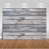 Dudaacvt 7x5ft Vinyl Grey Wood Backdrop Photographers Retro Wood Wall Background Cloth Baby Shower Background Photo Studio Prop D400