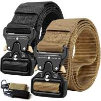 "QINGYUN RONGQI 2 Pack Tactical Belt,Military Style Quick Release Belt,1.5"" Nylon Riggers Belts for Men,Heavy-Duty Quick-Release Metal Buckle"