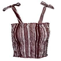 LOFBAZ Women's Frill Smocked Tube Crop Tank Top Tie Shoulder Strap Vest