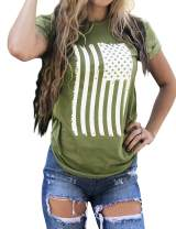 Hubery American Flag Patriotic Shirt Women Stars Stripes T Shirt Top Short Sleeve Casual Graphic Print Tee Shirt