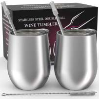 Stainless Steel Stemless Wine Tumbler 2 Pack 12 oz - Double Wall Vacuum Insulated Wine Tumbler with Lids and Straws Set of Two for Coffee, Wine, Cocktails, Ice Cream