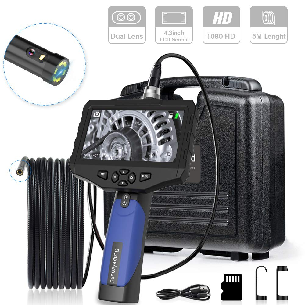 Industrial Endoscope, ScopeAround Dual Lens 4.3 Inch Screen Inspection Camera 1080P HD Waterproof Borescope with 6 Adjustable LED Lights, 2600mAh Battery, Tool Box (5m/16.5ft)