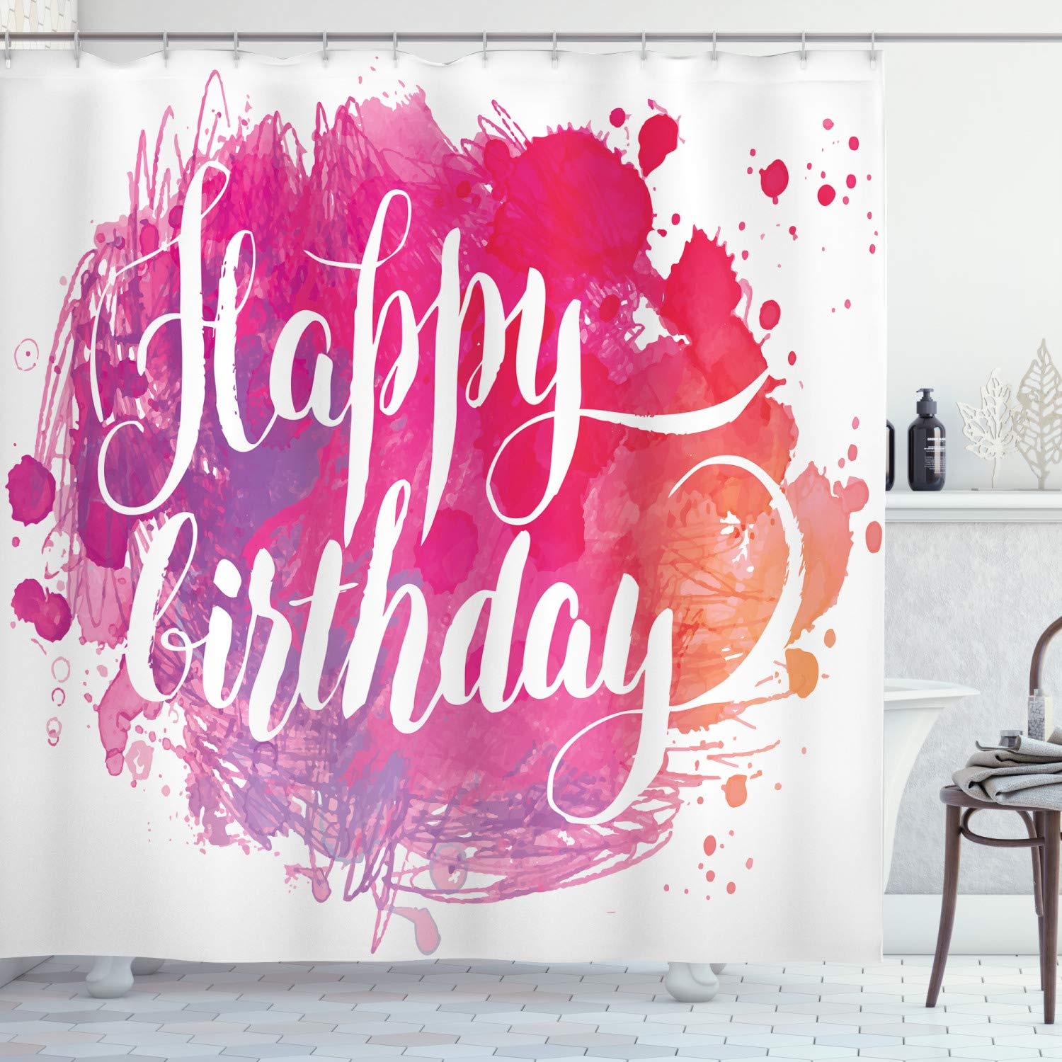 """Ambesonne Birthday Shower Curtain, Abstract Watercolored Splatters Hand Paint Style Celebratory Text, Cloth Fabric Bathroom Decor Set with Hooks, 70"""" Long, Orange Pink"""