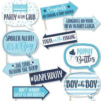 Funny It's a Boy - Blue Baby Shower Photo Booth Props Kit - 10 Piece