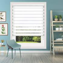 Keego Window Blinds Custom Cut to Size, White Zebra Blinds with Dual Layer Roller Shades, [Size W 22 1/2 x H 37] Dual Layer Sheer or Privacy Light Control for Day and Night