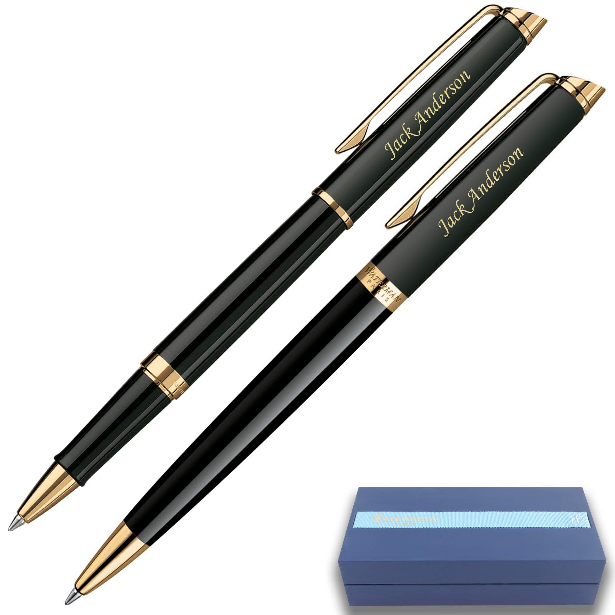 Personalized Waterman Pen | Engraved Waterman Hemisphere Rollerball & Ballpoint Gift Pen Set - Black. Custom Engraved By Dayspring Pens.