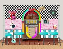 Classic Sock Hop Photography Backdrop for 1950s Rock Roll Party Decorations Back to 50's Soda Shop Retro Dinner Time Prom Dance Party Photo Background Cake Table Photo Booths Studio Props Banner 5x3ft