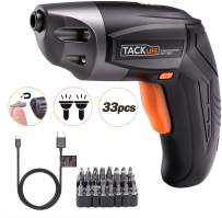 Cordless Screwdriver, TACKLIFE Rechargeable Screwdriver 3.6V 2000mAh Lithium Ion Battery with 33Pcs Free Screw Bits Set,USB Charging with Two LED,SDP70DC