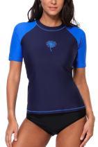 Sociala Women's Short Sleeve Rash Guard Swim Shirt Print Rashguard Swimsuit