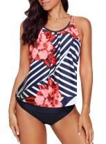 Dearlovers Women Bathing Suits Printed Beach Tankini Sets Swimsuit Swimwear