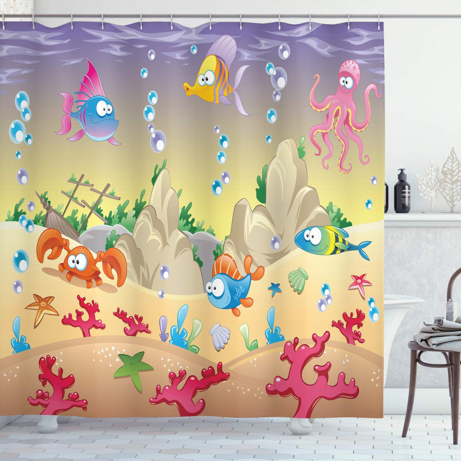 """Ambesonne Underwater Shower Curtain, Kids Cartoon Design Funny Sea Animals Fishes Sunken Ship Coral Reef and Bubbles, Cloth Fabric Bathroom Decor Set with Hooks, 75"""" Long, Purple Beige"""