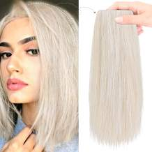 """REECHO 8"""" Thick Hairpieces Adding Extra Hair Volume Clip in Hair Extensions Hair Topper for Thinning Hair Women Color Cool Light Blonde"""