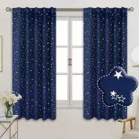 BGment Rod Pocket and Back Tab Blackout Curtains for Kids Bedroom - Sparkly Star Printed Thermal Insulated Room Darkening Curtain for Nursery, 42 x 63 Inch, 2 Panels, Navy Blue