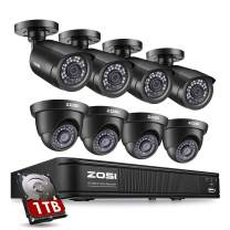 ZOSI H.265+ 1080p Home Security Camera System, 8 Channel Surveillance DVR Recorder with Hard Drive 1TB and 8 x 1080p Weatherproof CCTV Camera Outdoor/Indoor,Remote Access and Motion Detection