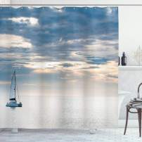 "Ambesonne Nautical Shower Curtain, Sailing Yacht in The Morning Time on Tranquil Seascape Cloudy Sky Peaceful Marine Image, Cloth Fabric Bathroom Decor Set with Hooks, 84"" Long Extra, Blue"