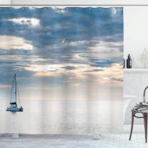 """Ambesonne Nautical Shower Curtain, Sailing Yacht in The Morning Time on Tranquil Seascape Cloudy Sky Peaceful Marine Image, Cloth Fabric Bathroom Decor Set with Hooks, 84"""" Long Extra, Blue"""