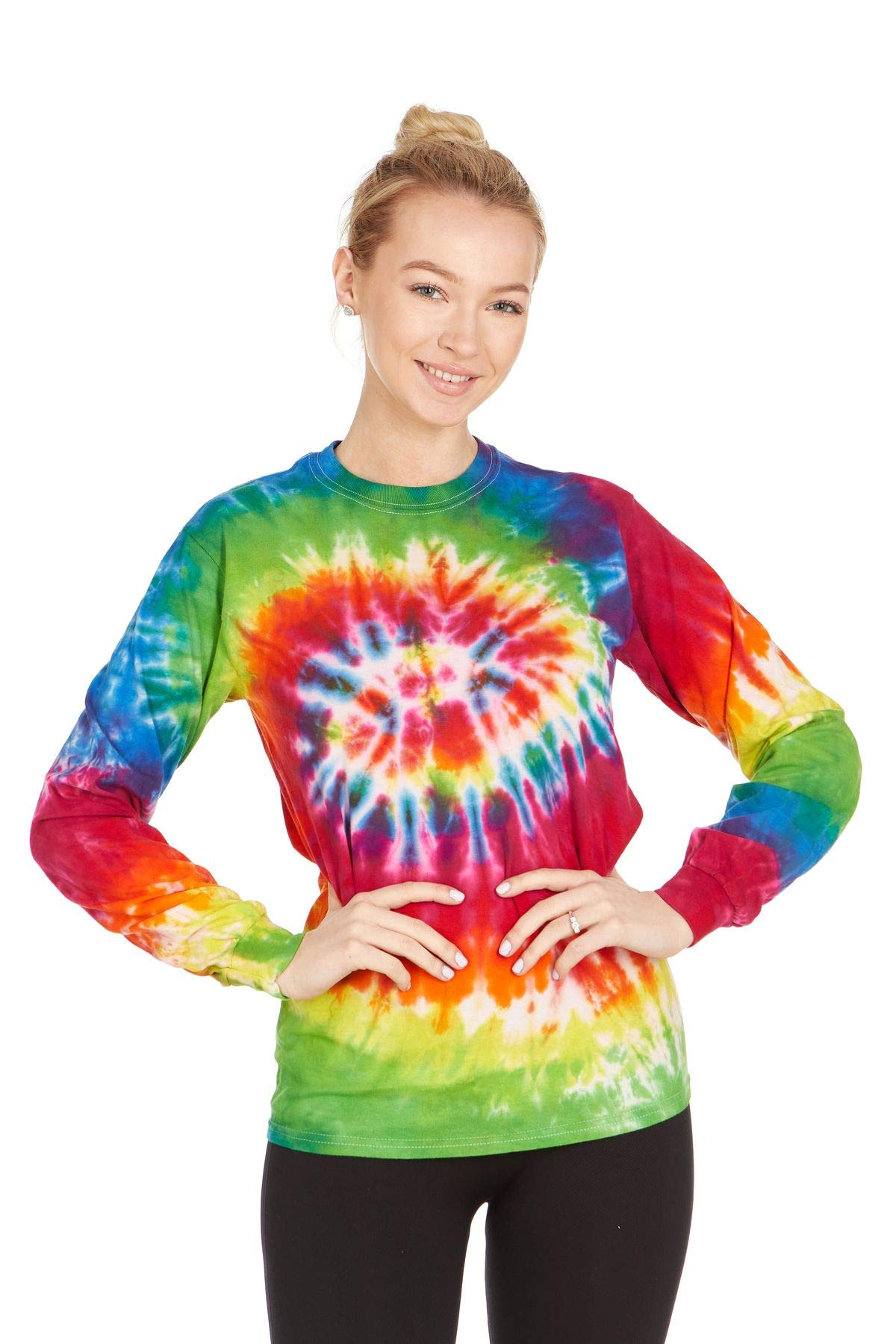 Tie Dye Style Long Sleeve T-Shirt Men Women - Fun, Multi Color Tops