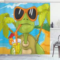 """Ambesonne Turtle Shower Curtain, Cool Sea Turtle with Sunglasses Drinking Cocktail at The Beach Cartoon, Cloth Fabric Bathroom Decor Set with Hooks, 70"""" Long, Blue Orange"""