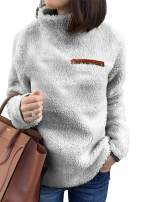 Romanstii Sherpa Jacket Women Turtleneck Pullover Fleece Loose Sweatshirt Warm Outwear Casual Tunic Tops Blouses