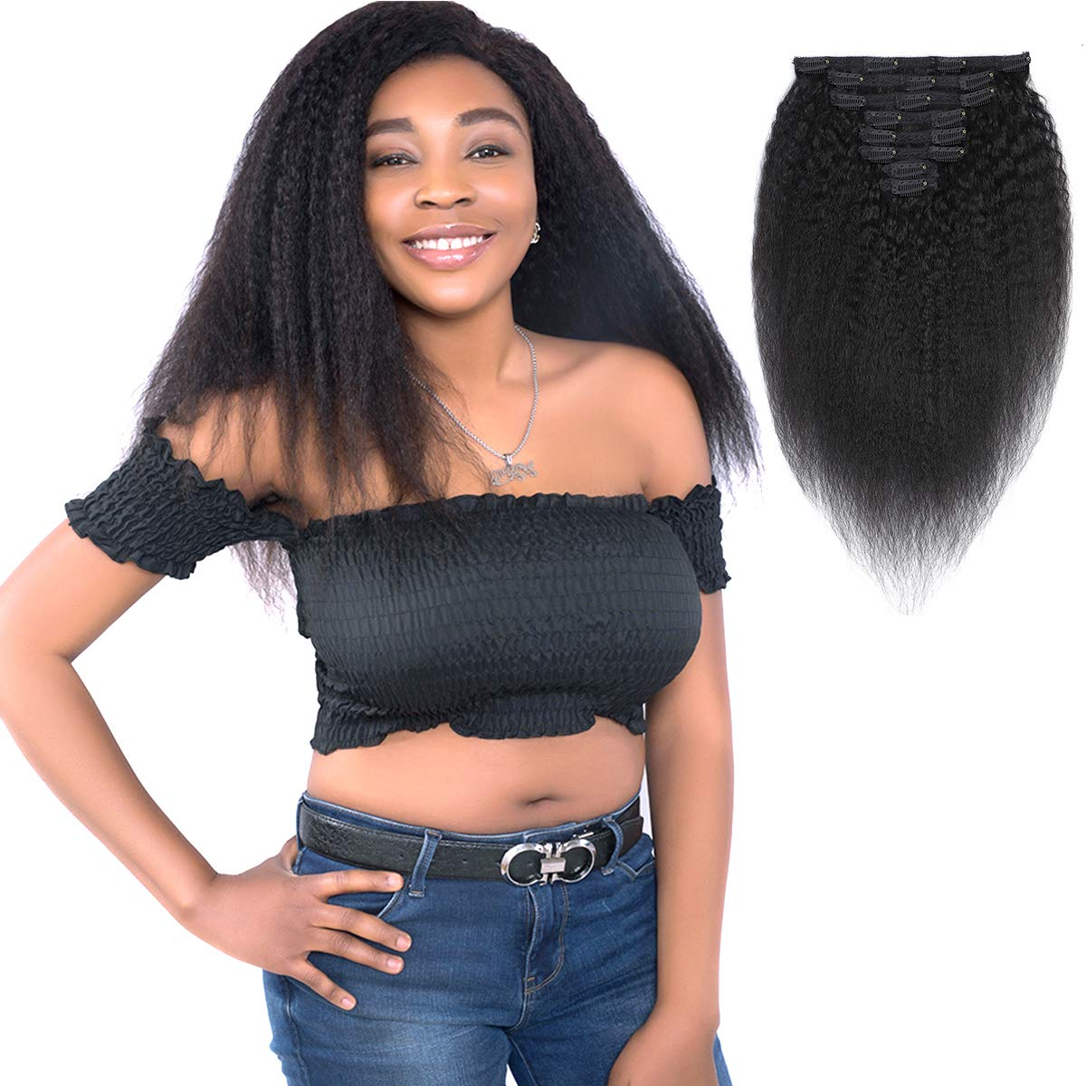 Feelgrace Clip in Hair Extension Human Hair for Women Kinky Straight Clip Ins Extension Yaki Straight Real Virgin Brazilian Hair Weft Silky Soft Clips in Human Hair Kinky Straight (16 Inch, Natural)