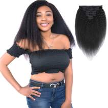 Feelgrace Real Remy Thick Yaki Straight Clip Ins Hair Extension for Black Women Natural Color Kinky Straight Clip In Extension 10A Grade Clip in Long Hair Weft (22 Inch)