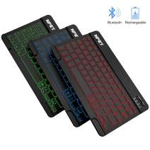 NPET BK01 Universal Slim Portable Wireless Bluetooth 3.0 Keyboard, 7-Colors Backlit Keyboard with Built-in Rechargeable Battery, Compatible with iOS, Android, Window, Mac, Smartphones, Tablets, PS