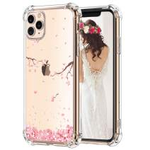 Hepix Cherry Petals Floral iPhone 11 Pro Max Case Pink Flowers 11 Pro Max Clear Cases, Crystal Soft Flexible TPU Phone Cover with Protective Bumpers Anti-Scratch Shock Absorbing for iPhone 11 Pro Max