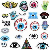 Choco Mocha 22PCS Eyes Patches for Jackets Women Iron On Patch Embroidered Decorative Sewing Appliques for Clothes DIY Accessories, Eyes